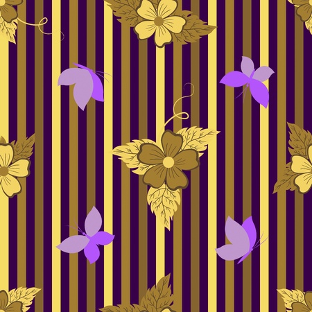 Seamless pattern with flowers and butterflies. Vector illustration. Stock Vector - 14718876