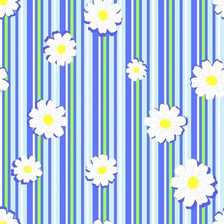 Camomiles against striped background seamless.  Vector