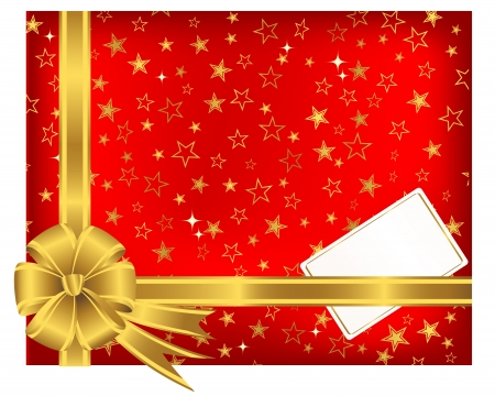 Golden ribbon with a bow and greeting card on a red background with stars.