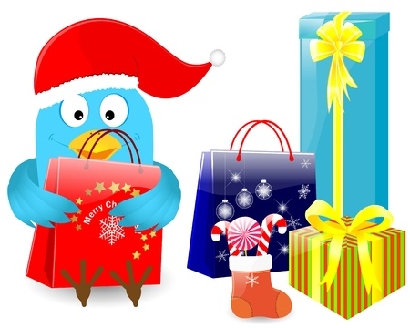 Blue bird in christmas cap with sock and gifts. 10 EPS. Vector illustration. Stock Vector - 14796926