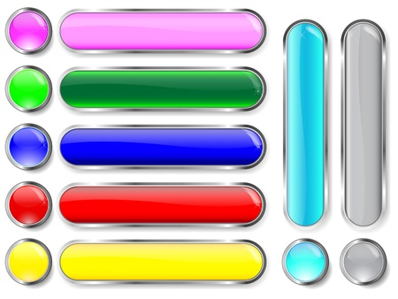 Collection of glass internet buttons. 10EPS Vector. Ilustrace
