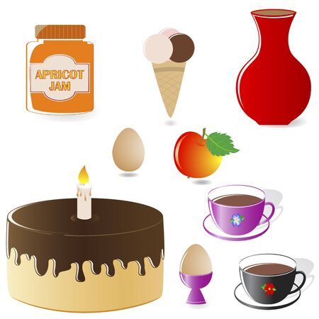 Set of Food Icons: cake, coffee, ice-cream, apple, egg, jam. Vector illustration. Vector