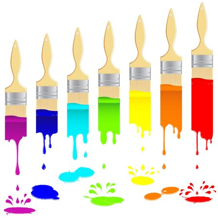 Flat brushes leave a multi-colored vertical trail with splash and drops. Vector illustration. Vector