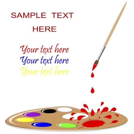 maleza: Paint Palette con pincel, salpicadura roja y gotas. Vector ilustraci�n.