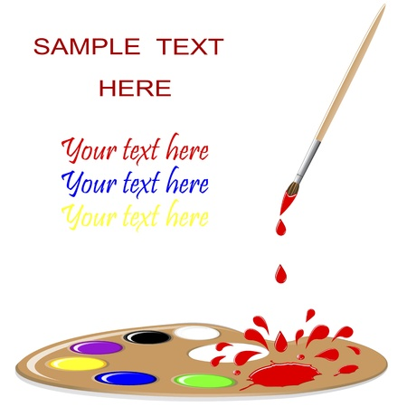 Paint Palette with paintbrush, red splash and drops. Vector illustration. Illustration