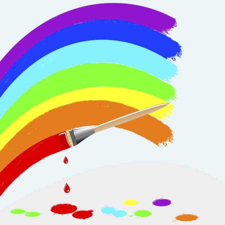Painting rainbow colors with colors splash and drops. Vector.