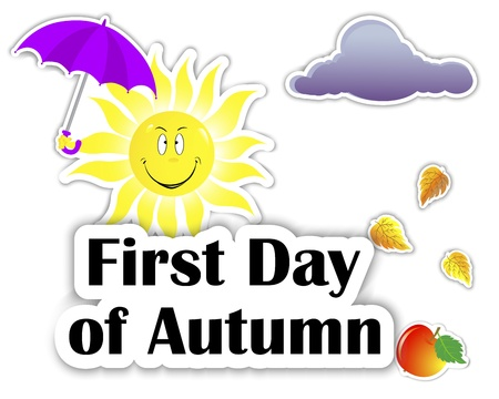 Set of stickers. First Day of Autumn. Smiling sun with an umbrella,  apple, and cloud. 10eps. Vector illustration. Vector