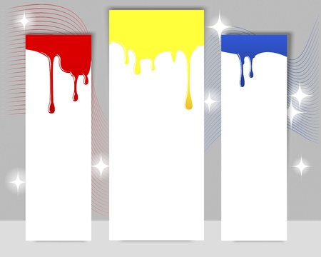 Three vertical banners with dripping paint on a gray background Vector
