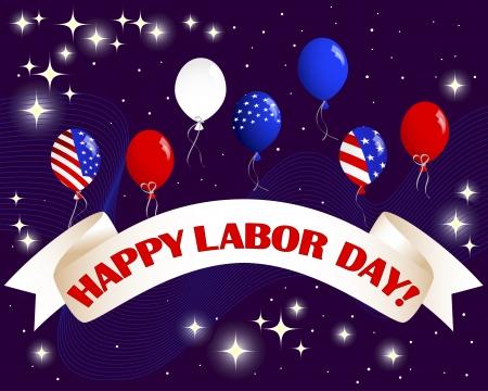 dia y noche: �Feliz D�a del Trabajo. Bandera celebraci�n con un hermoso texto, globos y fuegos artificiales
