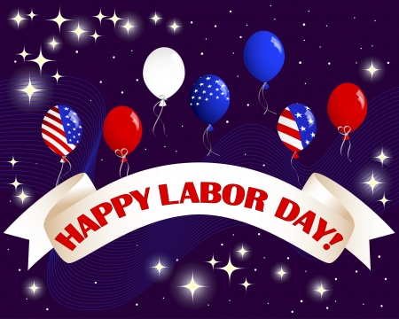 night and day: Happy Labor Day. Celebratory banner with a beautiful text, balloons and fireworks Illustration