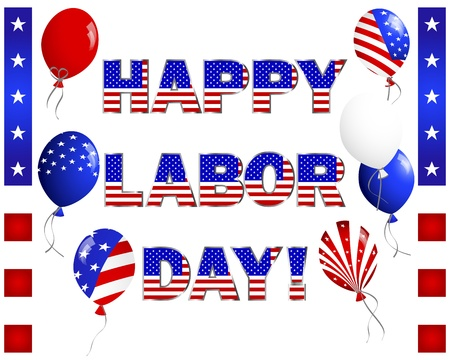 Labor Day. Celebratory text, balloons and banners on white illustration. Vector