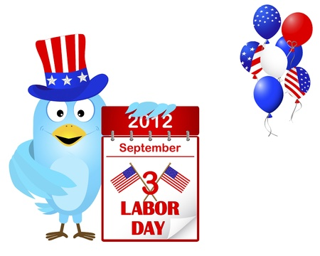 Labor Day. Blue Bird in a hat with icon a calendar and beautiful balloons Vector