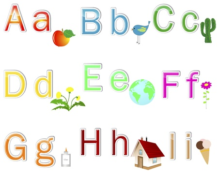 Multicolored alphabet stickers with cute pictures. letter from  Vector