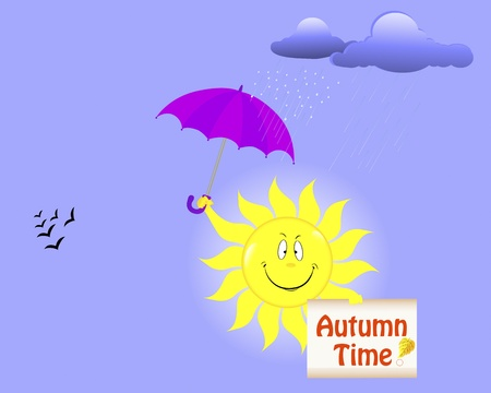 Autumn time. Smiling sun with placard and umbrella. Vector illustration. Vector