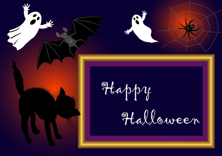 Halloween photo frame with bat, spook, a spider on a cobweb and scared cat. vector. with place for your text.  Vector