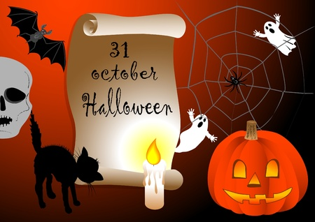 10eps: Halloween background scroll with candle. vector 10eps.