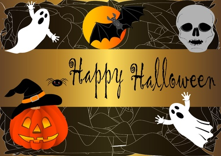 the spectre: Halloween banner in the cobweb. vector.