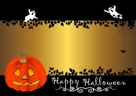 calabazas de halloween: Bandera de Halloween con calabaza. vector. Vectores