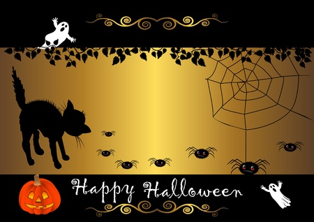 spectre: Halloween banner with cat and spiders. vector. Illustration