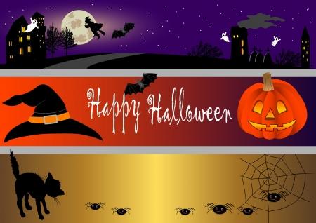 pumpkin border: Halloween banners set. vector illustration.