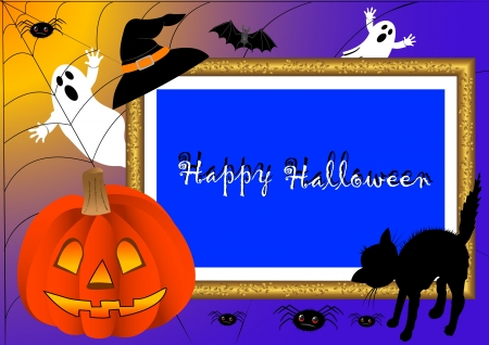 halloween photo frame. vector. with place for your text. Vector