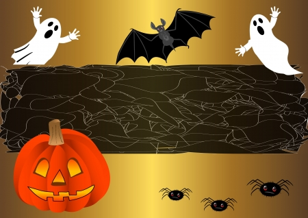 the spectre: halloween background with pumpkin. vector. Illustration