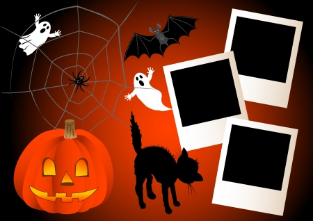 Three polaroid photo frames on a halloween background. vector. Vector