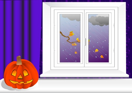 portiere:  Halloween pumpkin on table and window with a autumn view. vector. Illustration