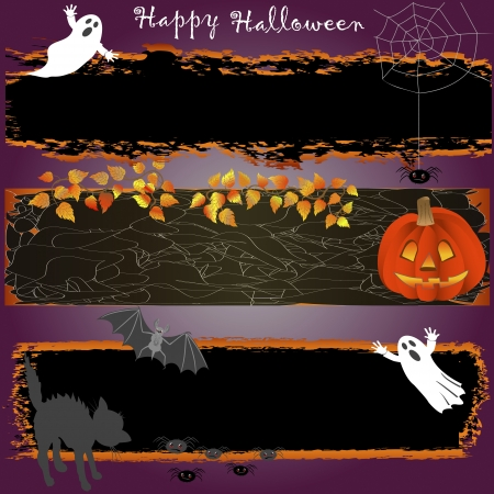 Grungy halloween banners with pumpkin, spooky and cat. vector. Vector