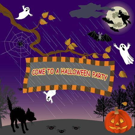 Signboard with Halloween Party Invitation. Vector illustration. Vector