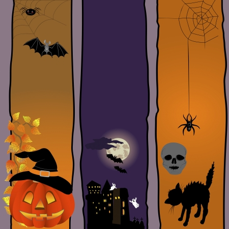 Halloween banners with pumpkin, spooky and cat. Vector. Vector