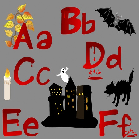 The alphabet with Halloween icons, letters A, B, C, D, E, F. Vector. Vector