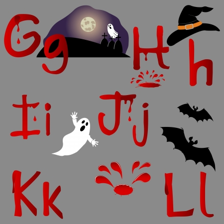 the spectre: The alphabet with Halloween icons, letters G, H, I, J, K, L. Vector.