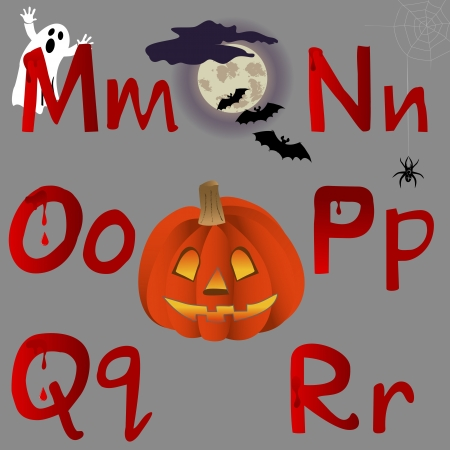 r p m: The alphabet with Halloween icons, letters M, N, O, P, Q, R. Vector.