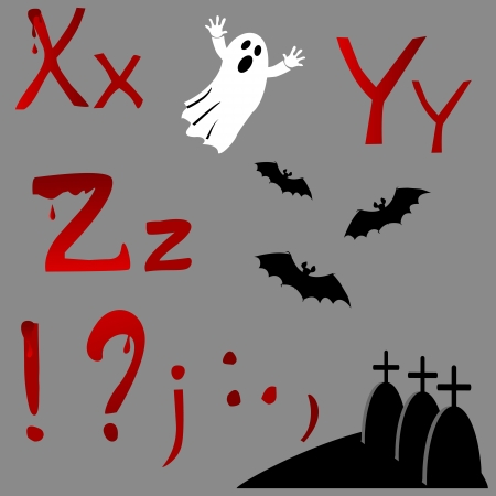 spectre: The alphabet with Halloween icons, letters X, Y, Z and punctuation marks. Vector.