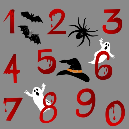 spectre: Set of numbers with Halloween icons. Vector.