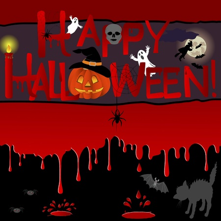 Bloody background with a banner and various symbols of a Halloween. Vector illustration. Vector