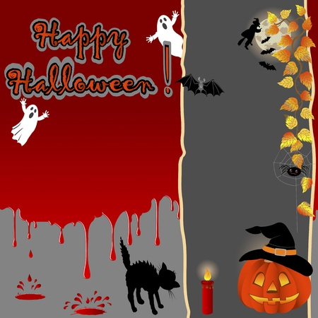 Halloween background with a banner and Blood drops. Vector illustration. Vector