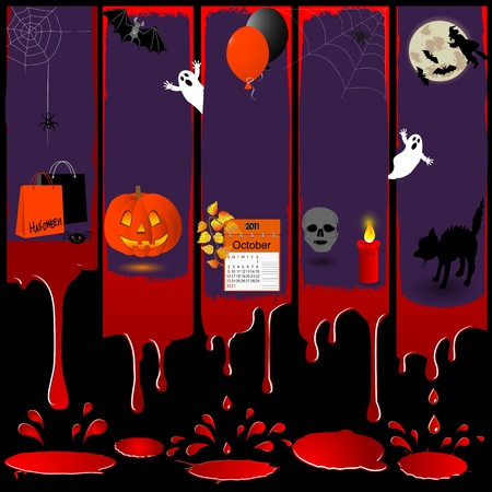 Five grunge bloody banners and various symbols of a Halloween. Vector illustration. Vector