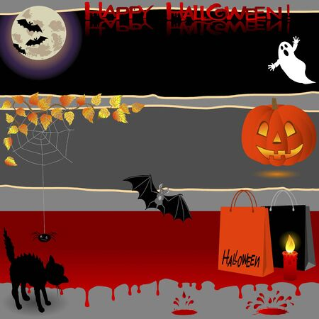Halloween banners with various symbols. Vector illustration. Vector