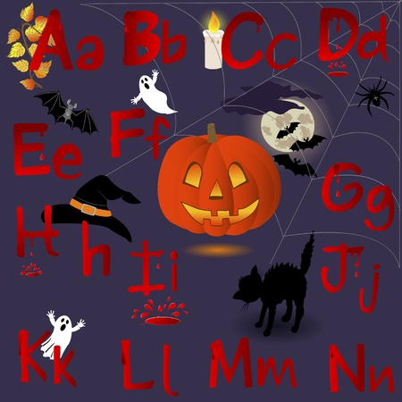 english alphabet: English Alphabet with Halloween icons. letters A-N Illustration