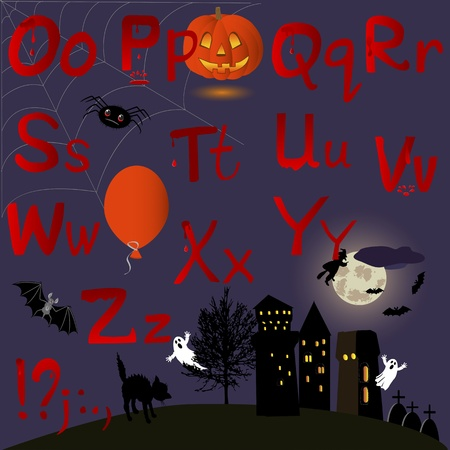 English Alphabet with Halloween icons. letters O-Z. Vector. Vector
