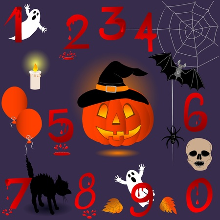 Set of numbers with Halloween icons Vector