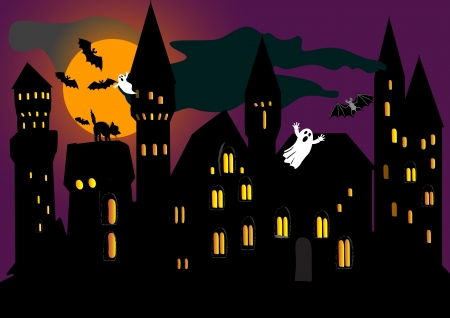 the spectre: illustration for Halloween holiday with old castle, bat, spook and cat. vector.