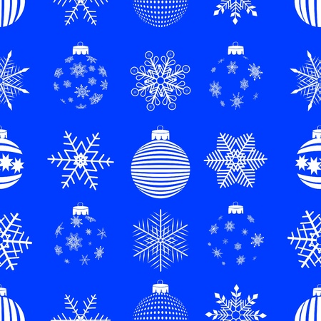 seamless pattern with christmas balls and snowflakes. vector.  Vector
