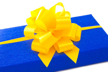 Blue gift with yellow bow. Stock Photo - 15806282