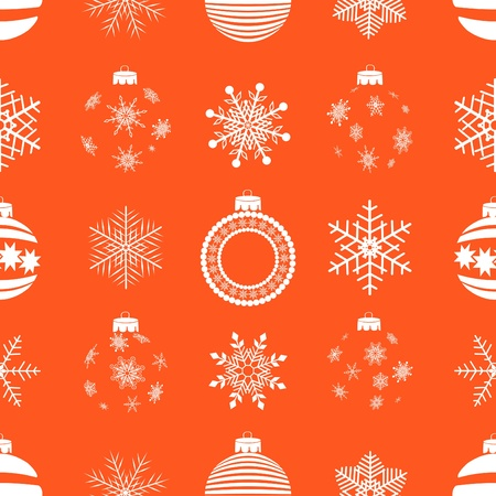 seamless pattern with christmas balls and snowflakes Vector