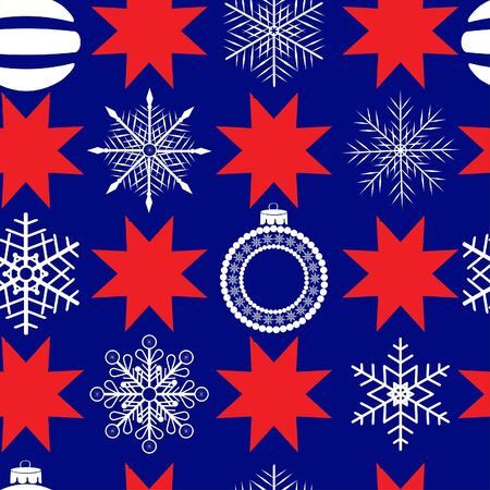 seamless pattern with balls, snowflakes and christmas stars Vector