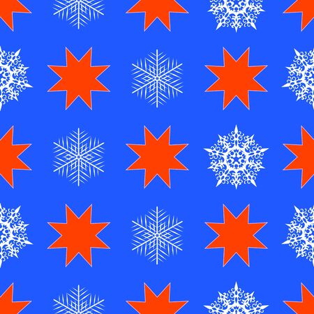 Seamless pattern with snowflakes and christmas stars Vector