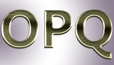 Letters from old metal (O,P,Q).